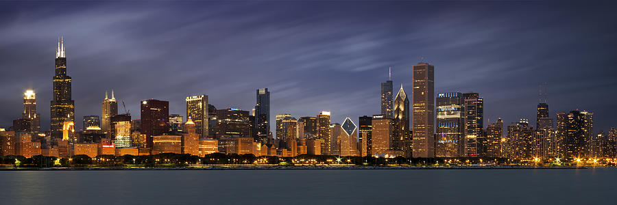 Chicago Skyline At Night Color Panoramic Photograph By