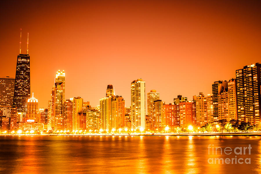 Florida Beach Fall Wallpaper Chicago Skyline At Night With Orange Sky Photograph By