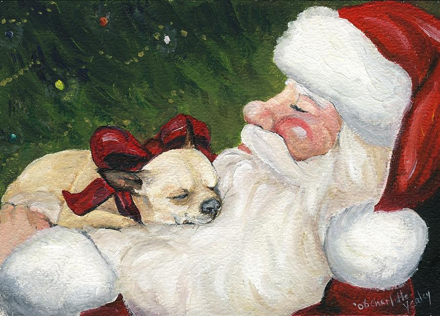 Chihuahuas Cozy Christmas Painting By Charlotte Yealey