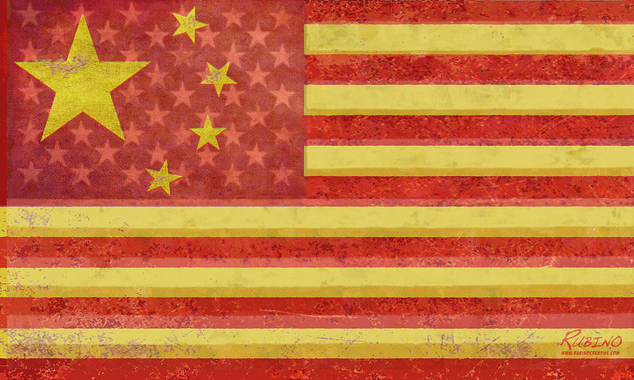 Chinese American Flag Blend Painting by Tony Rubino