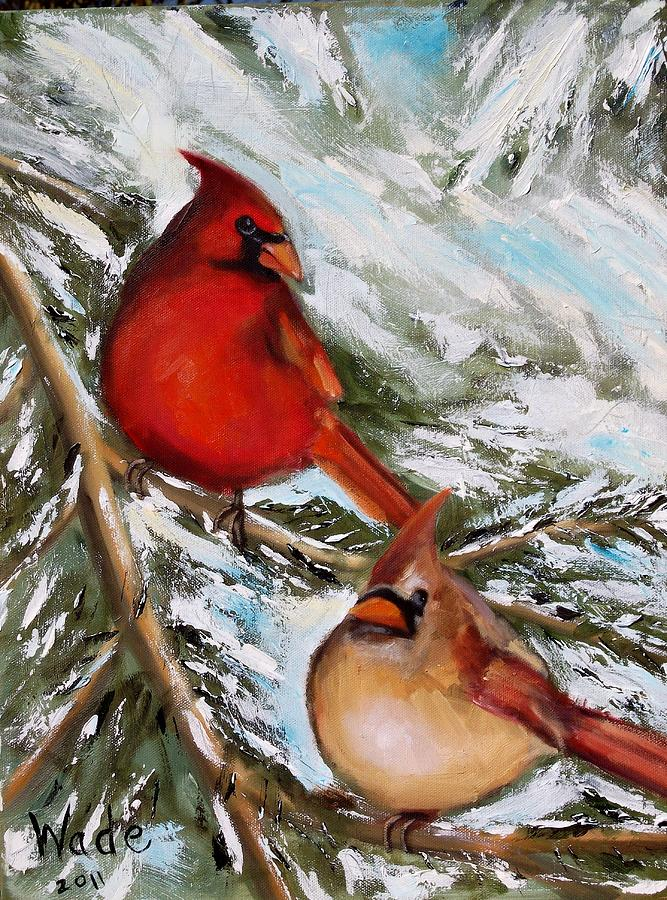 Christmas Cardinals Painting By Craig Wade