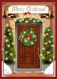 Christmas Door Digital Art by Melissa A Benson