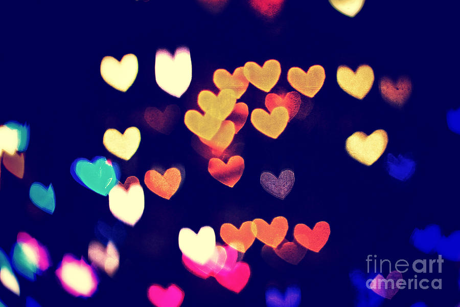 colorful heart bokeh with