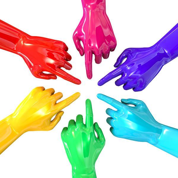 Colourful Hands Circle Pointing Inward Digital Art by