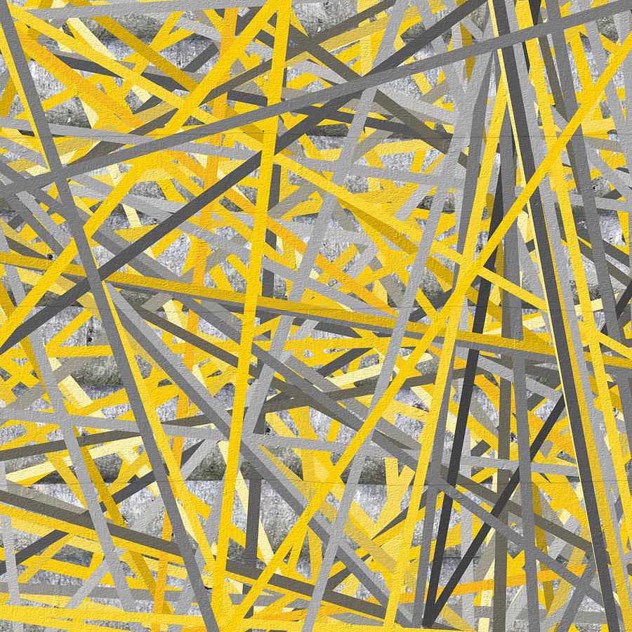 Connection  Yellow And Gray Wall Art Painting by Lourry