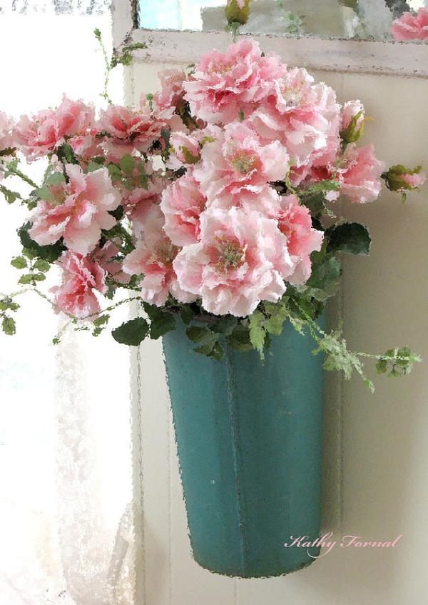Cottage Shabby Chic Hanging Basket Pink Flowers Photograph