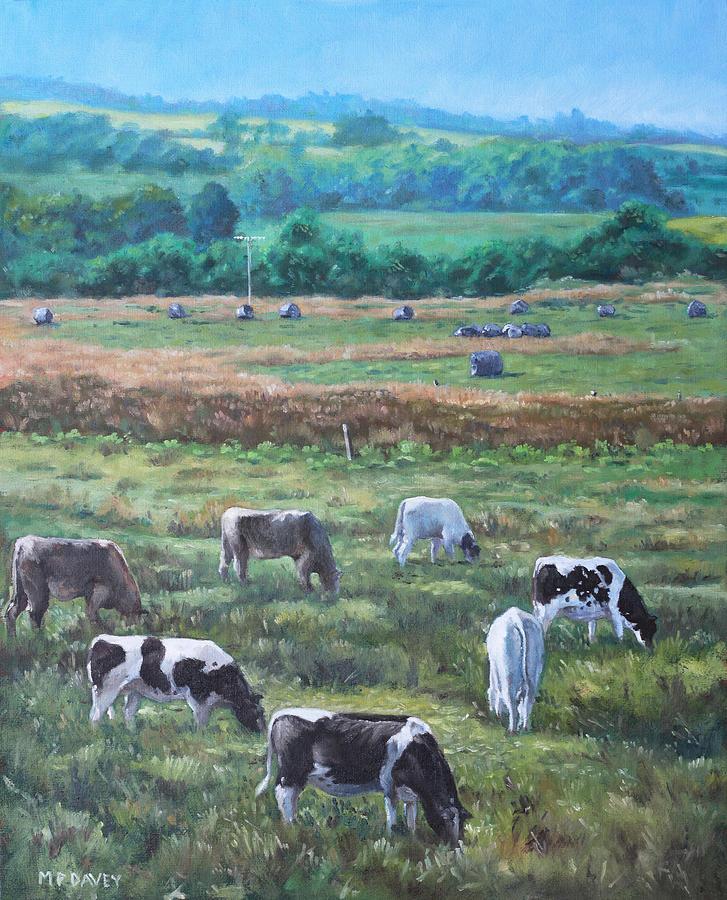 Cows In A Field : field, Field, Devon, Countryside, Painting, Martin, Davey