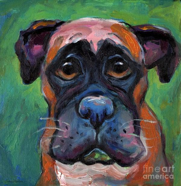 Cute Boxer Puppy Dog With Big Eyes Painting Svetlana