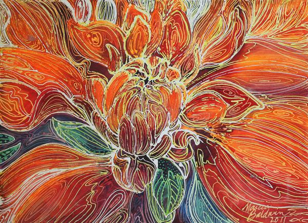 Dahlia Floral Abstract Painting by Marcia Baldwin