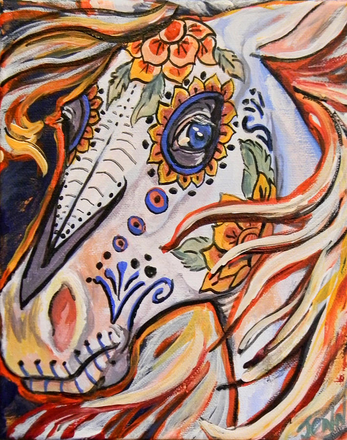 Day Of The Dead Horse Painting By Jenn Cunningham