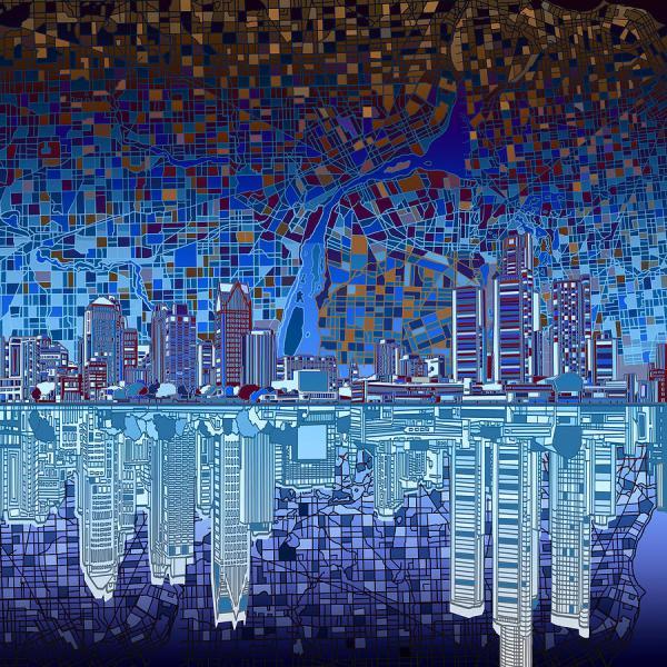 Detroit Skyline Art Abstract