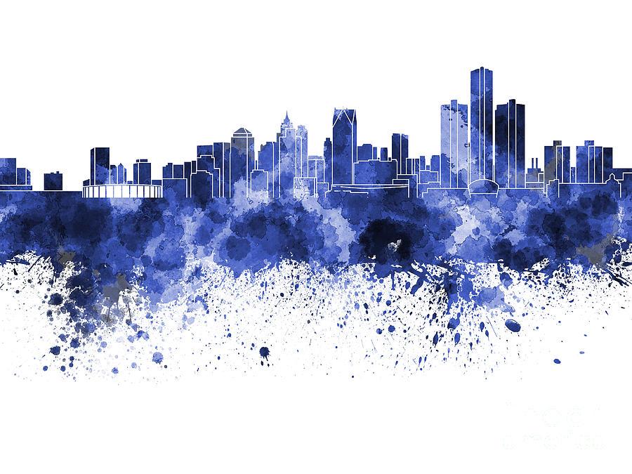 detroit skyline in blue