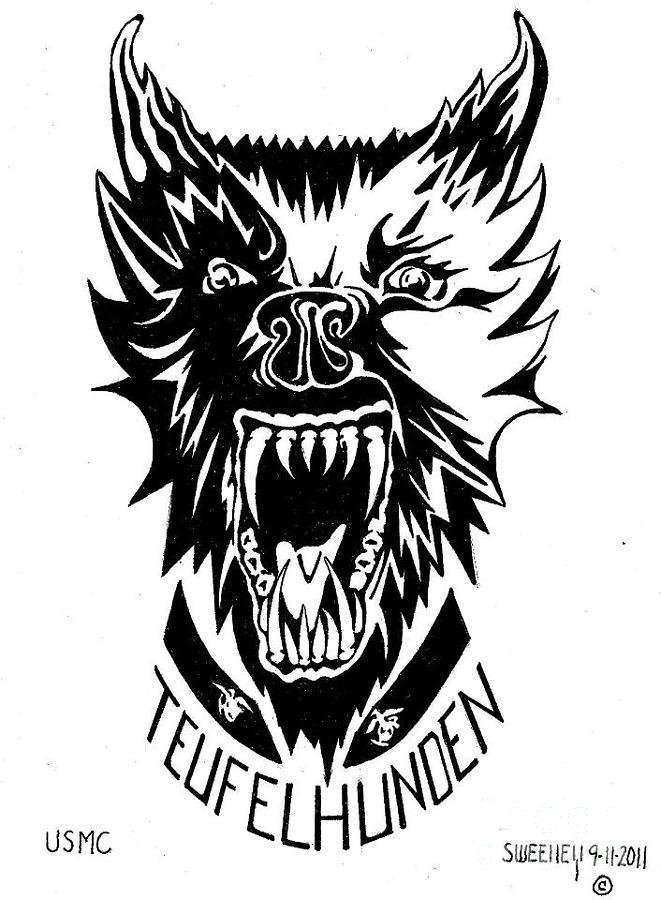 Devil Dog Drawing by Dan Sweeney