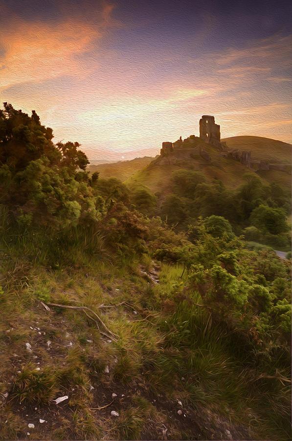Medieval Castle Painting : medieval, castle, painting, Digital, Painting, Medieval, Castle, Ruins, Sunrise, Photograph, Matthew, Gibson