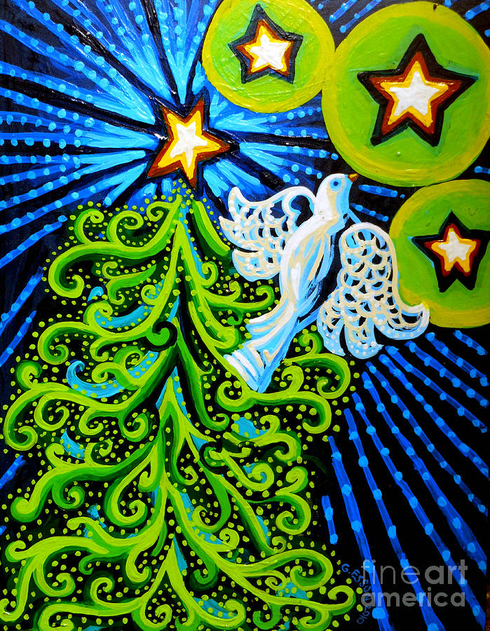 Dove And Christmas Tree Painting By Genevieve Esson