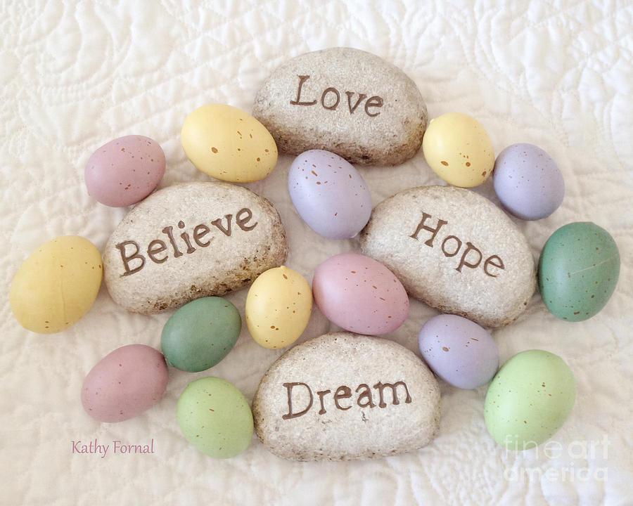 Faith Hope Believe Love Rocks