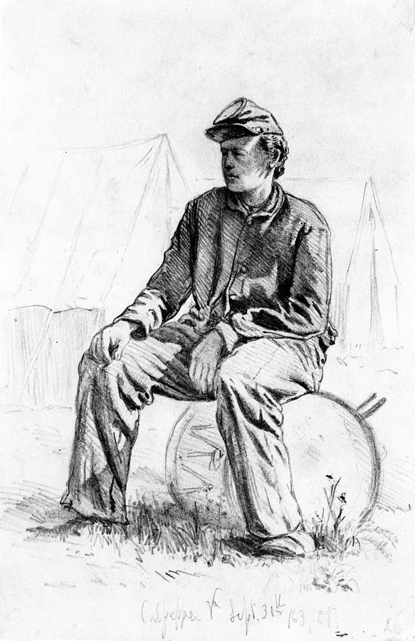 Drummer Boy Taking A Rest During The Civil War Pencil On