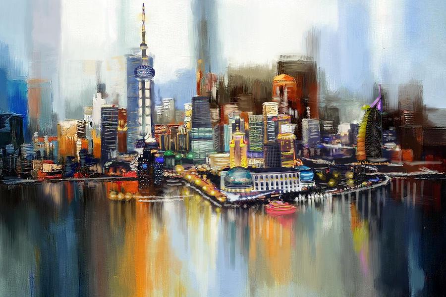 Dubai Skyline Painting By Corporate Art Task Force