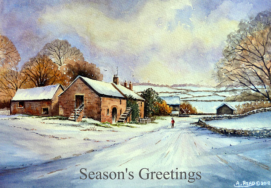 Early Morning Snow Christmas Cards Painting By Andrew Read