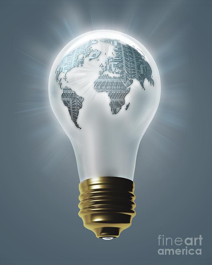 earth inside lightbulb by