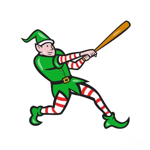 Elf Baseball Player Batting Isolated Cartoon Digital Art Aloysius Patrimonio