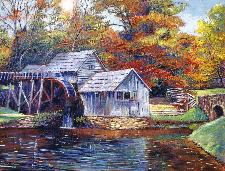 Falling Water Wallpaper 1080p Falling Water Mill House Painting By David Lloyd Glover