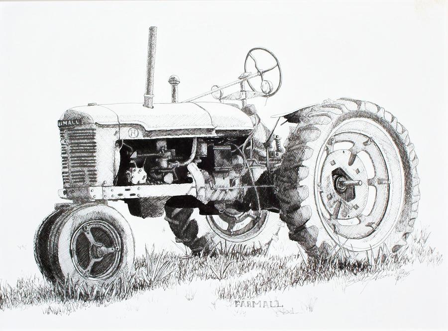 Farmall Drawing by Scott Alcorn