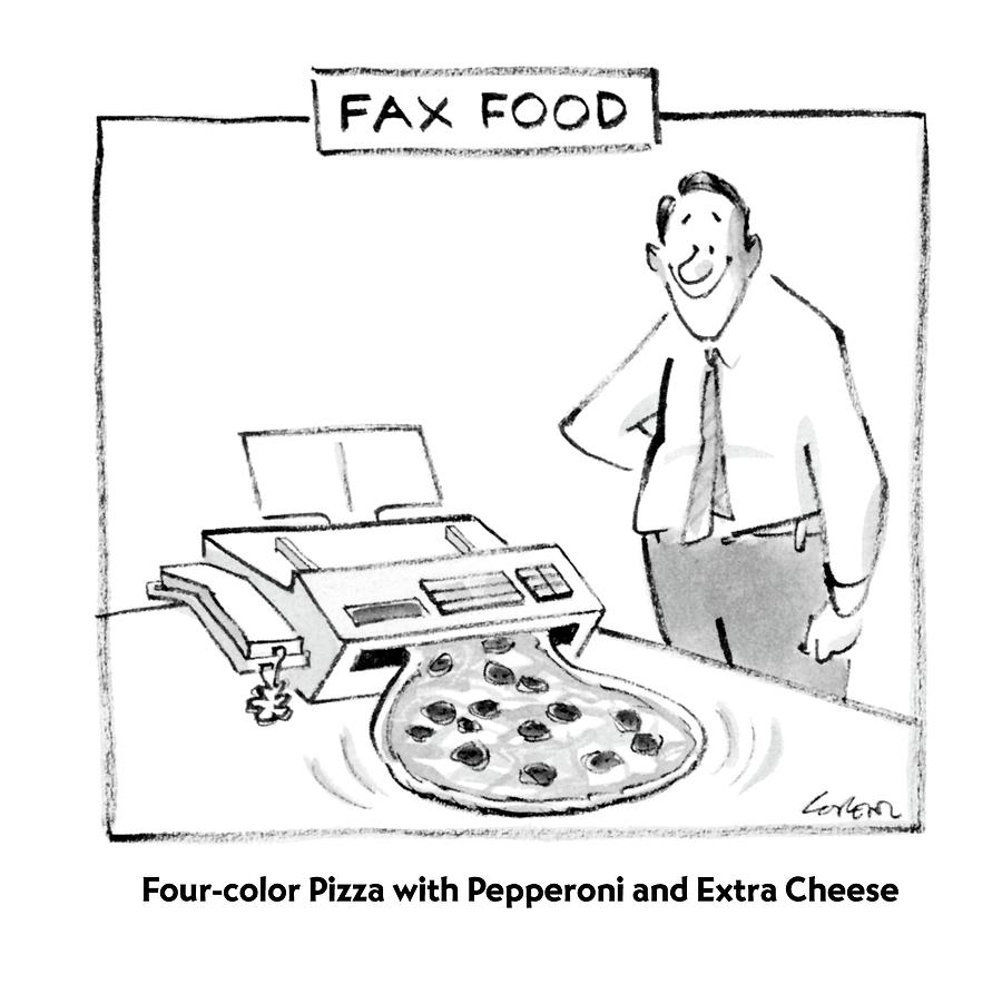 Fax Food 'four-color Pizza With Pepperoni Drawing by Lee