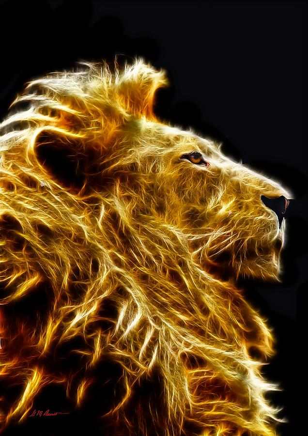 Fire Lion Mixed Media by Michael Durst