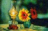 Flowers And Lamp Painting by George Atsametakis