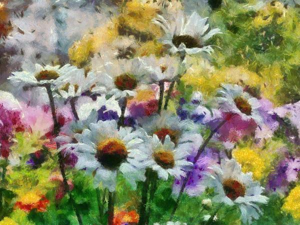 flowers in garden painting