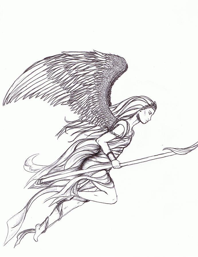 Flying Angel Drawing : flying, angel, drawing, Flying, Angel, Drawing, Ashelee, Rasmussen