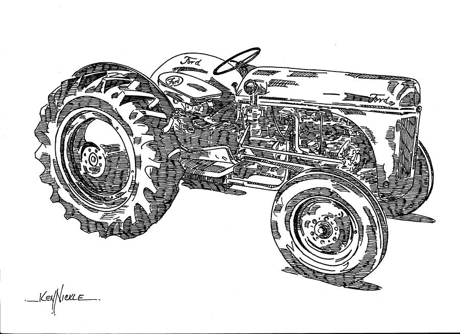 Ford 8n Tractor Drawing by Ken Nickle