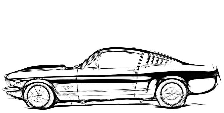 Ford Mustang Classic Drawing by Steve K