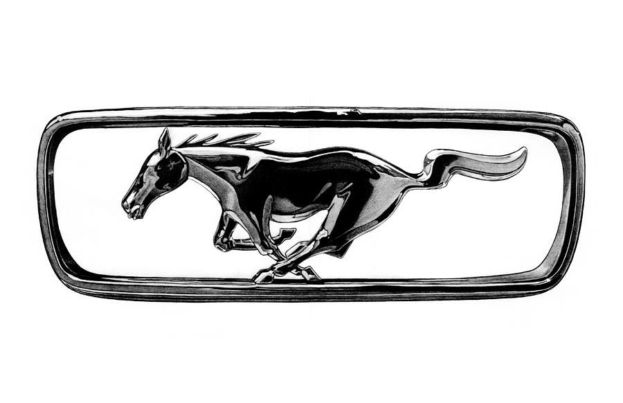 Ford Mustang Grill Emblem Drawing by Nick Toth