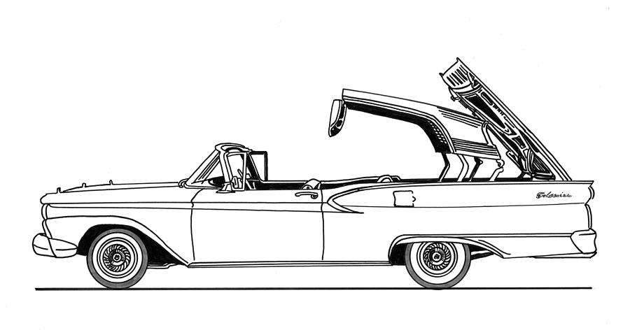 Retractable Ford Top Going Down Drawing by Jack Pumphrey