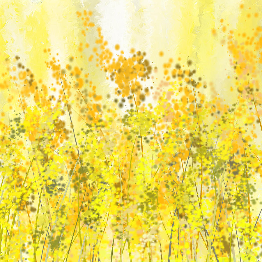 Glowing Spring Yellow Abstract Art Painting by Lourry Legarde