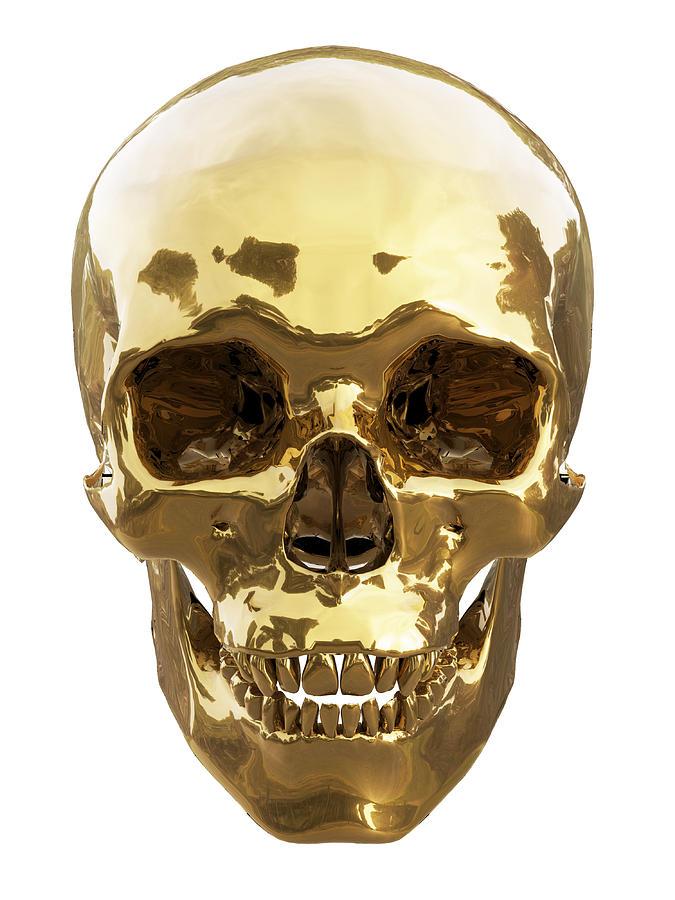 Golden Skull Digital Art by Vitaliy Gladkiy
