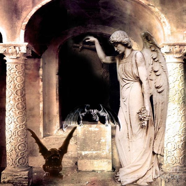 Gothic Gargoyles Angels Fantasy Dark Spooky Halloween Art