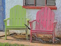 Green And Pink Chairs Colored Pencil Photograph by