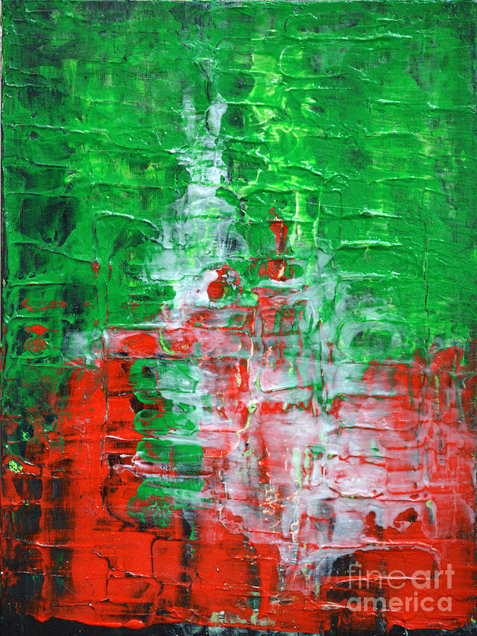 Green Red Abstract Textured Painting