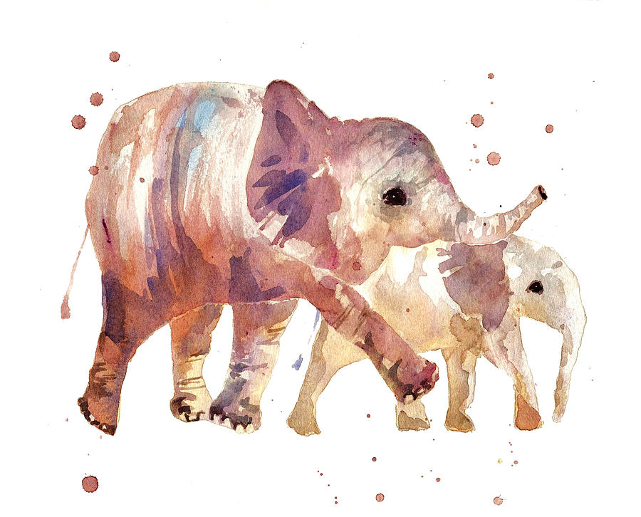 Happy Days Elephants Painting By Alison Fennell