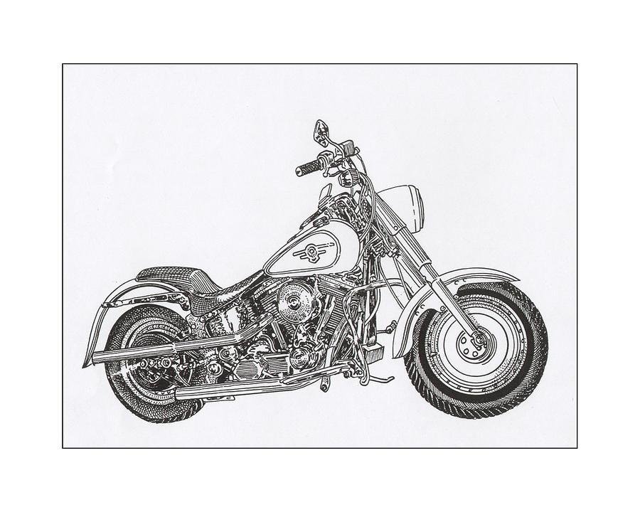 1936 Harley Davidson Fat Boy Drawing by Jack Pumphrey