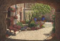 Hidden Garden Villa Di Camigliano Tuscany Painting by ...