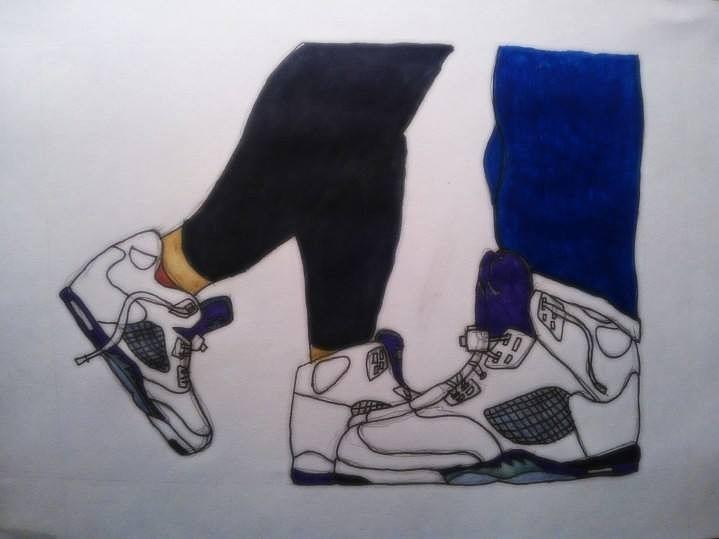 His And Hers Sneakers Drawing by Travis Hadley