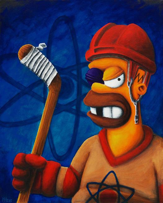 Simpsons Painting Hockey Homer By Marlon Huynh