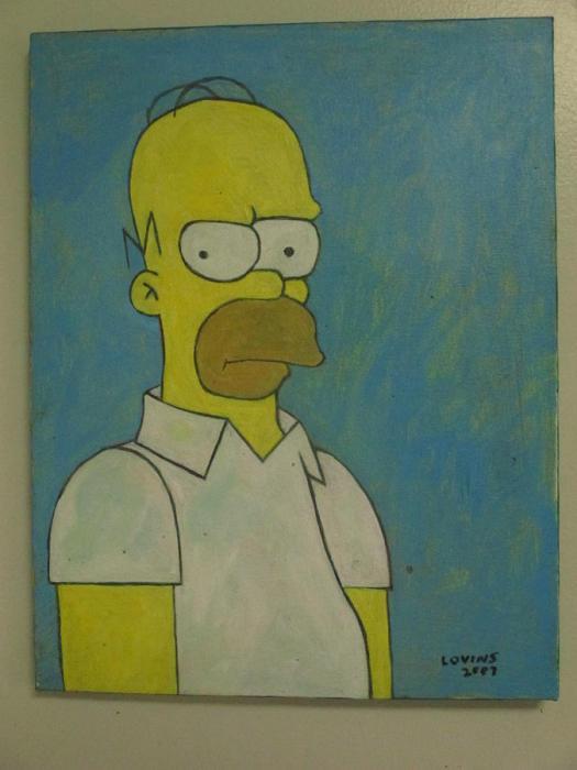 Homer Painting Simpson Acrylic On Canvas By David Lovins