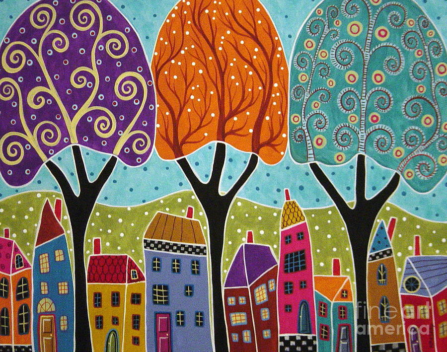Houses Trees Folk Art Abstract Painting By Karla Gerard