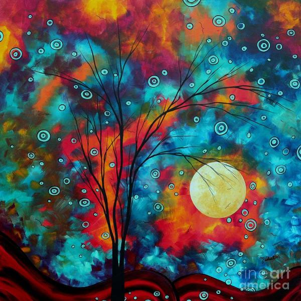 Huge Colorful Abstract Landscape Art Circles Tree Original Painting Delightful Madart