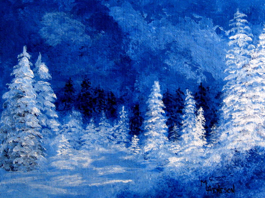 Ice Blue Winter Painting By Mary Arneson